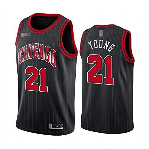 LYY Jerseys De Baloncesto para Hombres, NBA Chicago Bulls # 21 Thaddeus Young - Chaleco Transpirable Uniformes Classic Comfort Camiseta Sin Mangas Tops Sportswear,Negro,XXL(185~195CM)