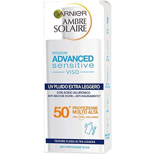 Garnier Ambre Solaire UV Fluido Viso Extra Leggero Advanced Sensitive, SPF 50+, Protezione Molto Alta, Arricchito con Acido Ialuronico, 50 ml