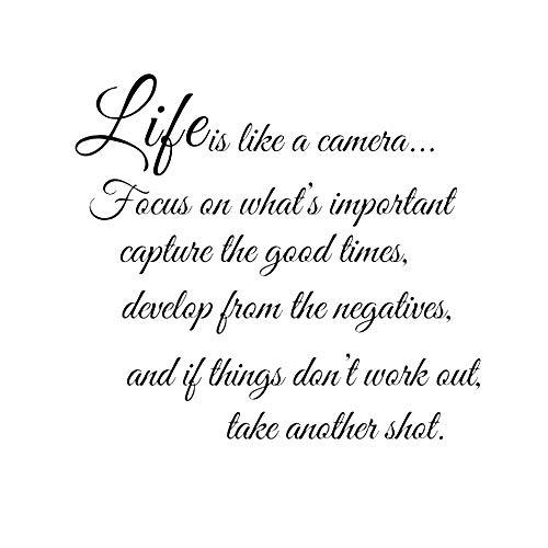 Romote Leben ist wie EIN Wall Sticker Aufkleber Wandaufkleber Wandaufkleber 1pc Kamera Zitat-Wort-Kunst für Raum-Dekor 22,5 X 17,7 Zoll (Schwarz)