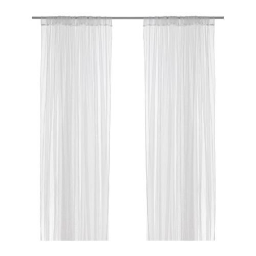 2 X Ikea Mesh Lace Curtains, 110 Inch By 98 Inch, 1 Pair, White