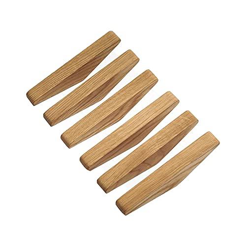 MOPOIN Percheros de madera, ganchos de pared de madera, 6...