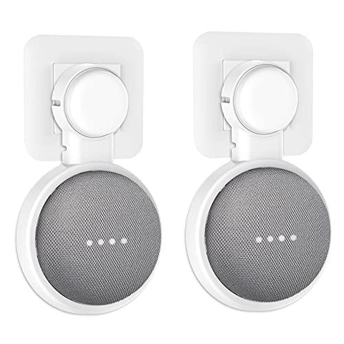 PlusAcc Soporte Montaje en Pared para Nest Mini / Google Home Mini, Sin Cables o Tornillos Desordenados, Colgador Ahorro Espacio Enchufe en Cocina Baño y Dormitorio. (1-Pack,blanco)