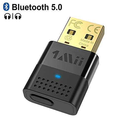 1mii USB Bluetooth Audio Adapter for PC, Bluetooth 5.0 Audio Transmitter, Dual Link with APTX Low Latency & APTX HD, Bluetooth Audio Dongle for PC, PS4, Headphone, Speaker(Only for Audio)