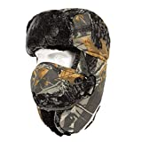 TAGVO Camouflage Trapper Hat Bomber Hat, Winter Warm Ear Flap Trooper Hat with Windproof Face Mask, Unisex Faux Fur Tactical Hunting Hat Ushanka Hat for Skiing Skating Outdoor Sport Activities