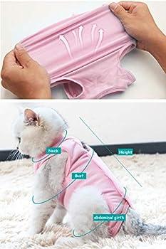 AEITPET Gilet de Récupération de Chat, Alternative pour Chiens et Chats Combinaison de récupération pour Animaux, Cat Restauration Convient Plaies Abdominales Maladies (S, Rose)