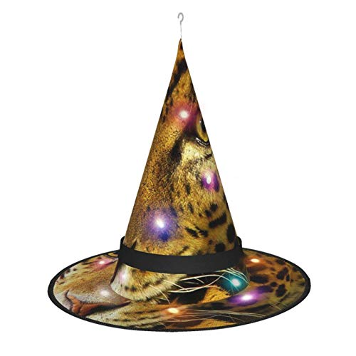 Sombrero de Bruja de Halloween para Mujer, Gorro de Leopardo frica Wilda Nimal para Fiesta, Disfraz de Cosplay, Accesorio Diario