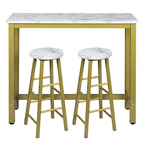 EUGAD Essgruppe Stehtisch mit 2 Barhockern Bistrotisch Stehtisch Esstisch Bartisch-Set Küchentisch und Küchenstühle, Metallgestell, MDF, 0005BAZ+0652BY-2, Golden + Marmor