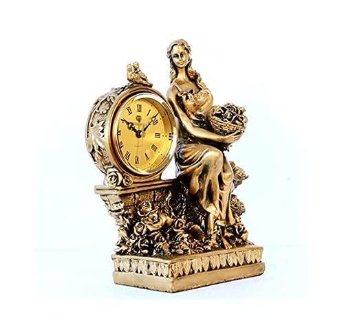 LXRZLS Adornos de Relojes de Mujeres Europeas, Elegante Sala de Estar Decorada un Reloj de Cuarzo Antiguo Creativo (27 * 22.8 * 12 cm)