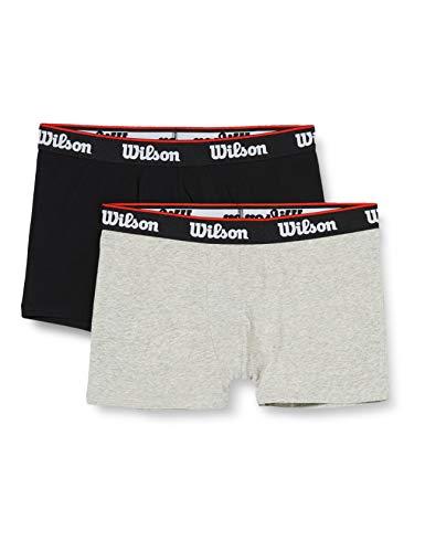 Wilson Herren Cotton Stretch Boxershorts (2er Pack), Schwarz/Grau, XL