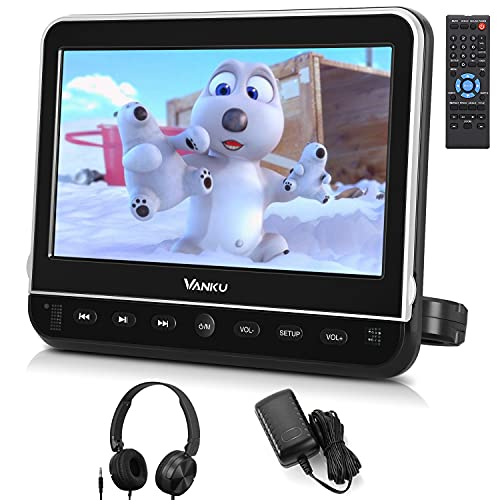 """Vanku 10.1"""" Car DVD Player with Headrest Mount for Kids, HDMI Input, Headphone, Support 1080P Video, USB SD, AV in Out, Last Memory, Region Free"""