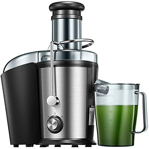 Entsafter Gemüse und Obst, 75MM Edelstahl Entsafter, 800W Zentrifugal Entsafter mit Anti-Tropf-Funktion und Überhitzungsschutz inkl, Geräuschloser Motor, BPA-Frei, Rutschfeste Füße