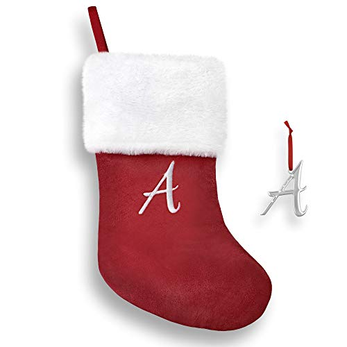 """Regent Square 2020 Christmas Stocking & Ornament Set with Crystals from Swarovski, 18"""" Monogram Stocking and Silver Plated Monogram Ornament, Xmas Gift Set for Holiday- Letter A"""