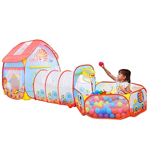 LANHA Pop Up Play Tunnel Princess Castle Play Tent with Carrying bag Ball Pit Basketball Hoop Playhouse Toys for Kids Girls Outdoor Indoor