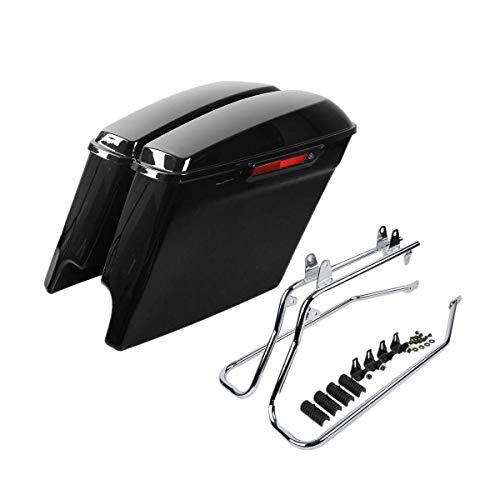 Green-L Vivid Black 5' Stretched Hard Saddlebags with Conversion Bracket Fit for Harley Softail Models 1986-2013