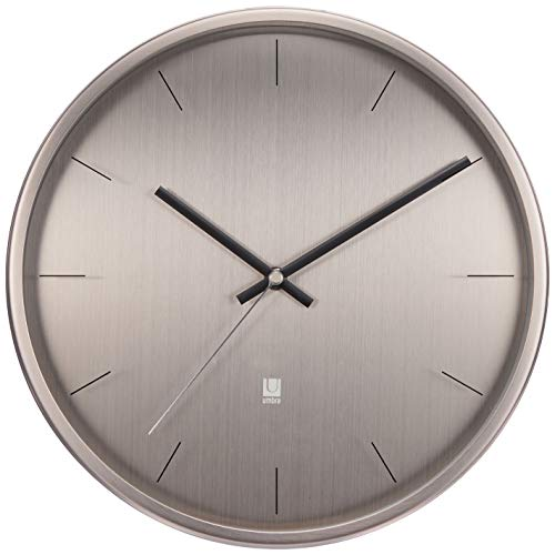 Umbra Meta Wall Clock, Nickel Quiet, Non Ticking and Silent, Easy to...