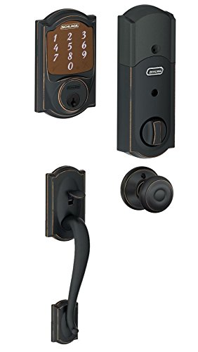 Schlage BE479CAM716 Camelot Smart Deadbolt w/Georgian Knob in Aged Bronze