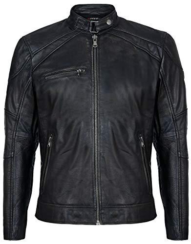 Infinity Leather Chaqueta Moto Carreras Motorista 100% De Cuero con Cremallera y Estilo Negro M