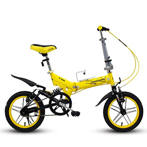 CWZY Men Women Folding Bike, 14 Inch Mini Foldable Mountain Bicycle, Lightweight Portable High-carbon Steel Reinforced Frame Commuter Bike,Yellow
