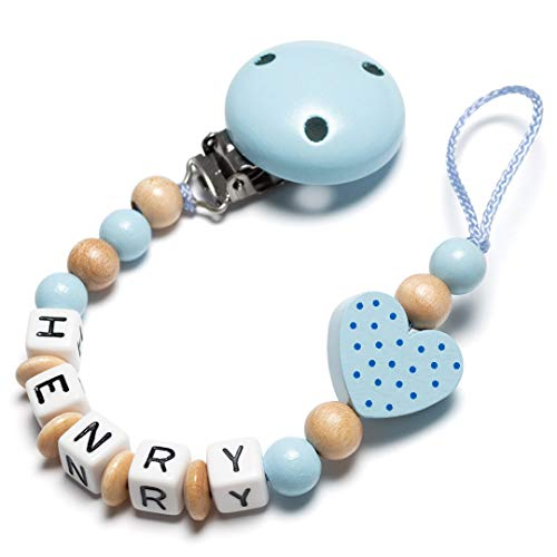 Schnullerkette mit Namen - Auto, Herz, Eule, Wolke, Stern für Mädchen und Jungen (Herz, hellblau, natur)