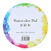 Watercolour Pad, 20 Sheets Portable Watercolor Paper Acid Free Pure Cotton Paper for Watercolour and Mixed Media Painting(Circular 19cm)