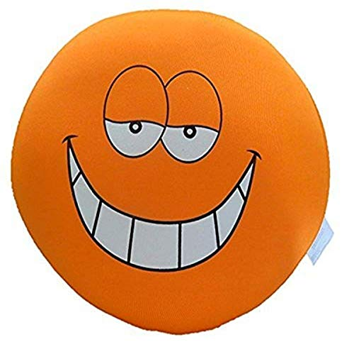 Tache Home Fashion Crazy Face Decorative Round Squishy Soft Microbead Emoji Smiley Toss Throw Pillow, 13' x 13' x 6', Orange