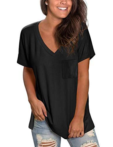 MOLERANI Magliette per Donna Magliette Basic Magliette Maniche Corte Magliette semplici con Scollo a V Nero L
