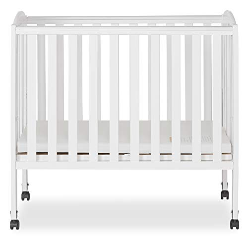 Dream On Me 2 in 1 Portable Folding Stationary Side Crib in White, Greenguard...
