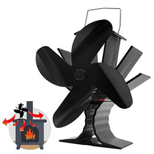 Signstek Ofenventilator mit 4 Flügeln für Viel Platz auf Dem Holz/Holzbrenner/Herd/Kamin, Umweltfreundlicher Leiser Kaminventilator mit Thermometer DE (Schwarz)