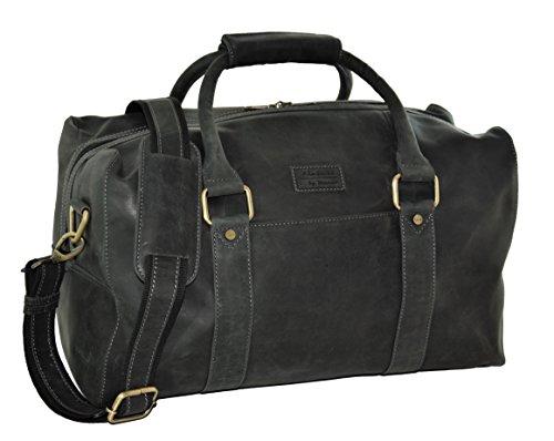 Menzo Menzo Vienna Leder Reisetasche 30l, Handgepäck, Weekender, Businesstasche Damen und Herren, (schwarz)