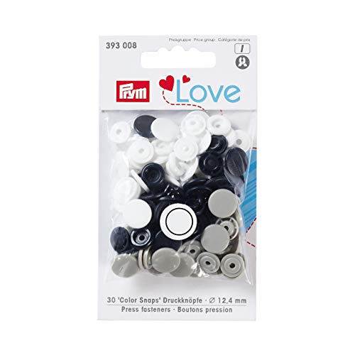 Prym 393008 Love Druckknopf Color KST 12,4 mm Marine/grau/weiß, Polyester, 12.4 mm