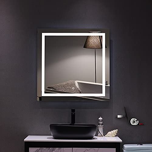 """Wfrspavey 32""""x 32"""" Square Built-in Light Strip Touch LED Bathroom Mirror HNYXS"""