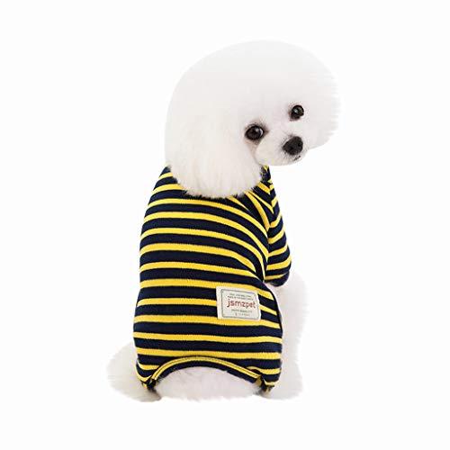 Brizz Strepen, kleine dieren, katoenen poloshirt voor kleine honden, kat, schattig, zacht, comfortabel, voor in de zomer, Large, geel-winter