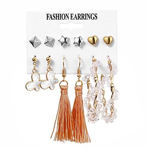 FEARRIN Pendientes de Oro Vintage Pendientes de Perlas Vintage para Mujer Gran Cruz de Oro Conjunto de Pendientes Borla Larga Mariposa Pendientes Colgantes Joyería H248-383-03