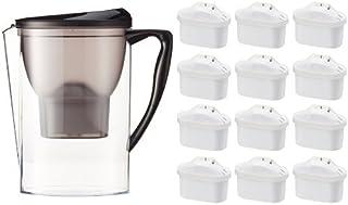 Amazon Basics Carafe filtrante 2,3 litres avec lot de 13 cartouches filtrantes (12+1 offerte), compatible carafes Brita ...