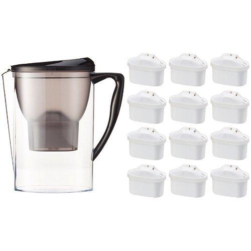 AmazonBasics - Krug mit Wasserfiltereinsatz, 2,3 l, mit 12er-Packung Wasserfilter-Patronen + 1 gratis, insgesamt 13 Stück - für Brita-Maxtra®-Krüge (nicht Maxtra+®)
