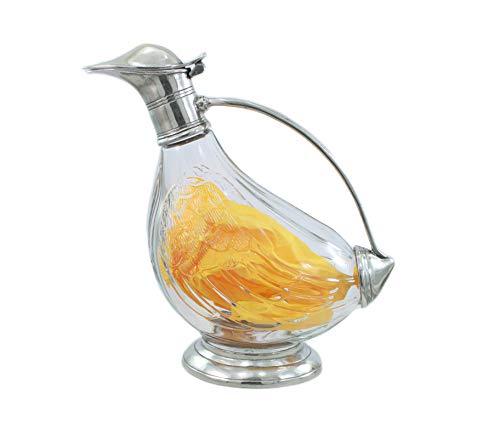 Flasche Dekanter Glas und Zinn geblasen. Für Wein und Spirituosen. Silber. Italienische Handwerkskunst von großem Wert in Zeitobjekt