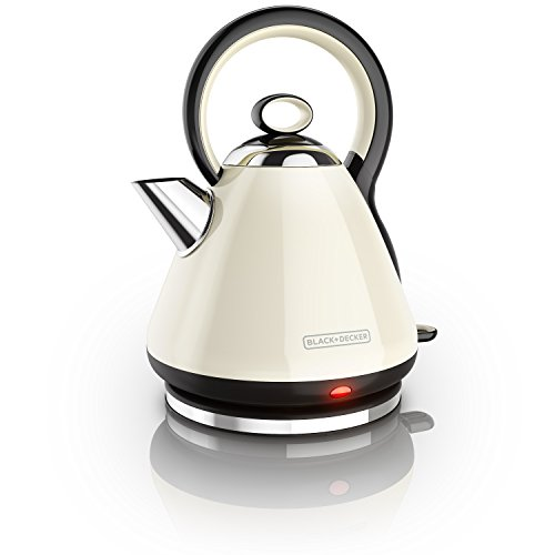 BLACK+DECKER Kettle, Dome Style Heritage Design, Stainless Steel, Cream, 1.7L, KE2900CRC