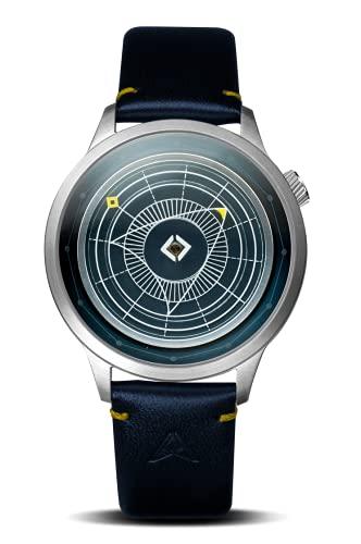 Trinity Time Reloj Altas Series de plata cepillada con correa de cuero genuino