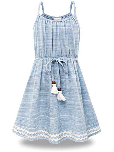 BONNY BILLY Mädchen Kleider Sommer Freizeit Baumwolle Ärmellos Kinder Strandkleid 5-6 Jahre/110-116 Blau