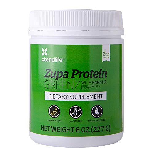 ZupaProtein Greenz by xtendlife | Combining Pure New Zealand Whey Protein Rich In BCAAs With Organic Spirulina & Chlorella For Healthy Muscle Tone & Clear Skin (Includes FREE Shaker)
