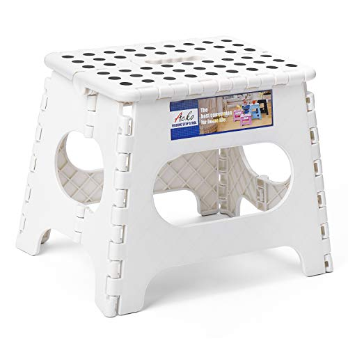 Acko Folding Step Stool for Adults Lightweight Plastic Stepping Stool. Foldable Step Stool Hold up to 300lbs Non Slip Collapsible Stool White