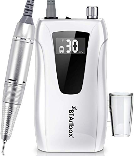Professional Portable Nail Drill - Efile Nail Drill, BTArtbox 30000RPM Nail Drill Machine Rechargeable Electric Nail Drill for Acrylic Nails, Gift for Women Home and Salon Use, White