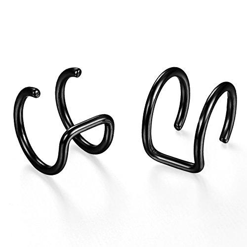 JewelryWe Schmuck 2X Non Piercing Damen Herren Nasenpiercing, Ohrklemme Ohrclip Illusion Fake Cheater Captive Ring Ohrpiercing, Edelstahl, schwarz