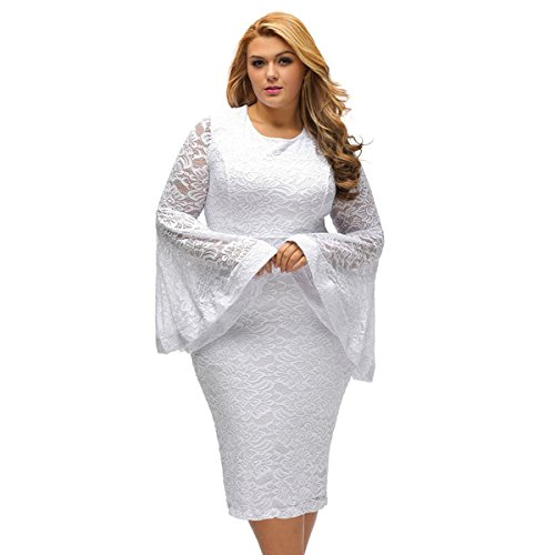 SUGARWEWE Sexy Plus Size Bell Sleeves Lace Dress Party Dress Plus White XX-Large