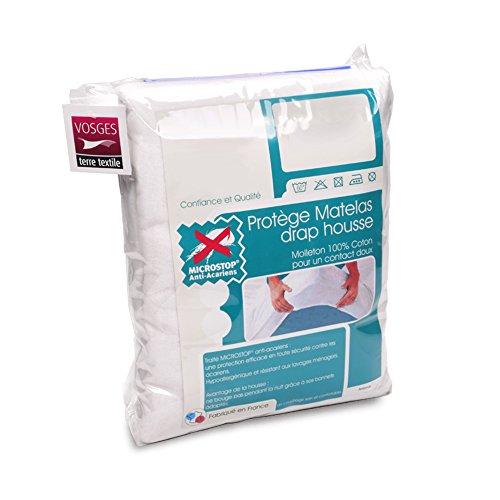 Antonin - Protector de colchón (180 x 220 cm, muletón, absorbente, tratamiento antiácaros, gorro de 30 cm)