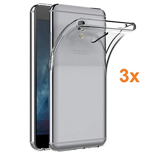REY Pack 3X Cover in Gel TPU Trasparente per MEIZU M5 Note, Ultra Sottile 0,33 mm, Morbido Flessibile, Custodia Silicone
