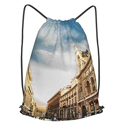 Mochila de pintura al óleo de Barcelona, mochila con cordón, una mochila ligera adecuada para baloncesto al aire libre y gimnasios de interior