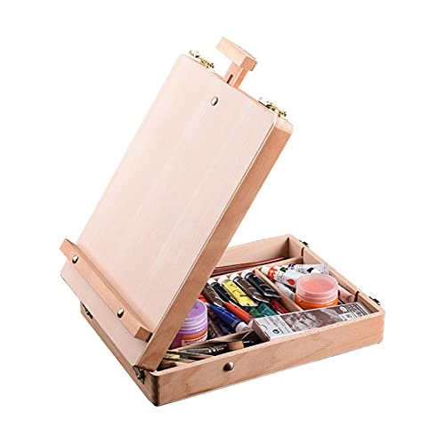 YAOLUU Painting Easel Stand Wooden Easel for Painting Sketch Easel Drawing Table Box Oil Paint Laptop Accessories Painting Art Supplies for Artist Children Portable Art Easel (Color : Burlywood)