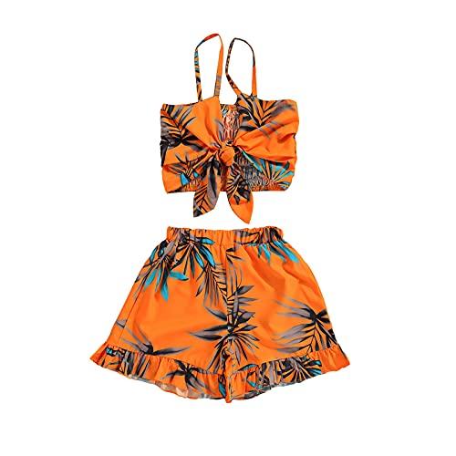 2 piezas ropa de verano bebé niña estampado floral sin mangas correa bowknot chaleco corto top + volantes pantalones cortos fresco playa conjunto