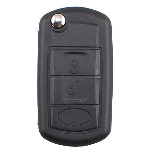 KEMANI Uncut Flip Remote Key Shell Car Fob Case Replacement For Land Rover Discovery LR3 Range Rover Sport 3 Buttons